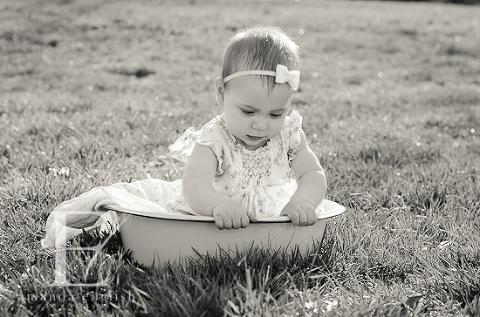 Raleigh Children + Baby Photography: Grey Elise 6 month milestone - Amanda English Photography